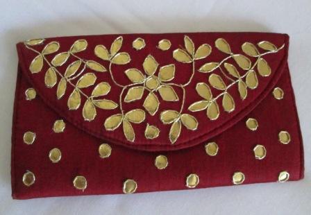 Gold foil work applique purse kinjal